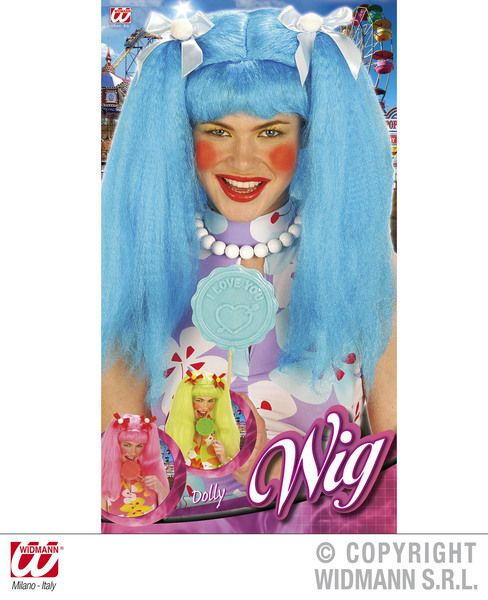 Ladies Dolly Anime Wig Blue/Pink/Green Fancy Dress